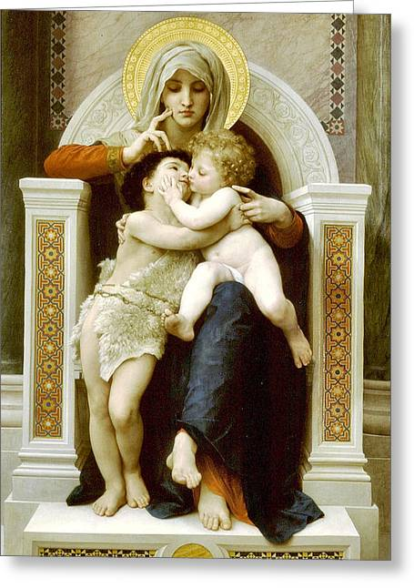 The Virgin The Baby Jesus And Saint John The Baptist Greeting Card by William Bouguereau