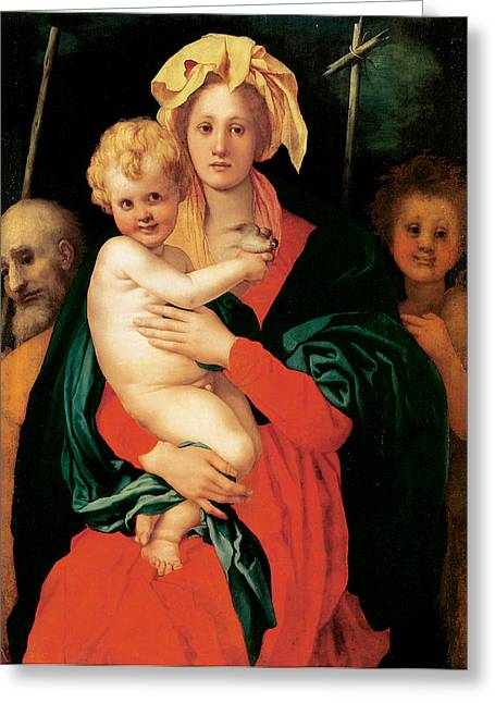 Jesus With Children Greeting Cards - The Virgin with Child St Joseph and St John the Baptist Greeting Card by Jacopo Pontormo