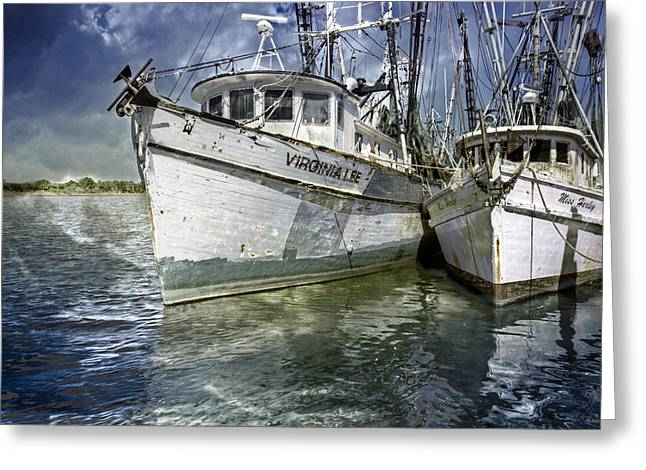 Boats At Dock Greeting Cards - The Virginia Lee and the Miss Harley Greeting Card by Debra and Dave Vanderlaan