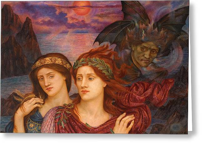 Evelyn De Greeting Cards - The Vision Greeting Card by Evelyn De Morgan