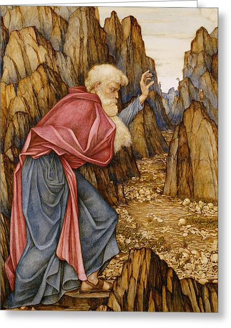 Bible Paintings Greeting Cards - The Vision of Ezekiel The Valley of Dry Bones Greeting Card by John Roddam Spencer Stanhope