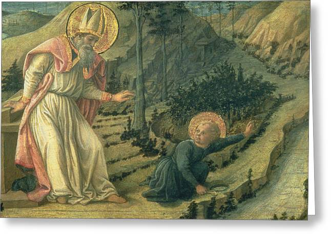 Tuscan Landscape Greeting Cards - The Vision Of St. Augustine, Late 1450s Panel Greeting Card by Filippino Lippi