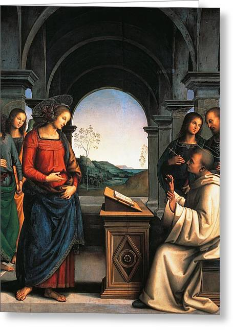 St Bernard Greeting Cards - The Vision of St Bernard Greeting Card by Pietro Perugino