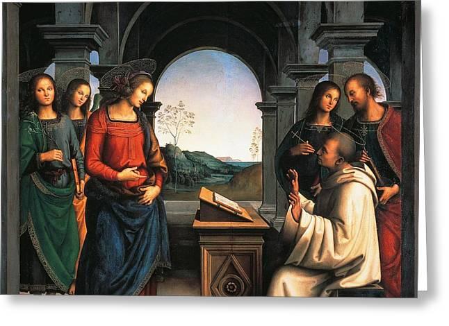 The Vision of St Bernard Greeting Card by Pietro Perugino