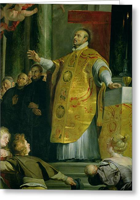 Reformation Greeting Cards - The Vision Of St. Ignatius Of Loyola C.1491-1556 Detail Of The Saint, 1617-18 Oil On Canvas Greeting Card by Peter Paul Rubens