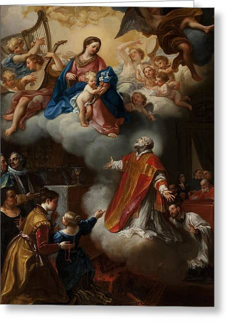 Celestial Paintings Greeting Cards - The Vision Of St. Philip Neri, 1721 Greeting Card by Marco Benefial