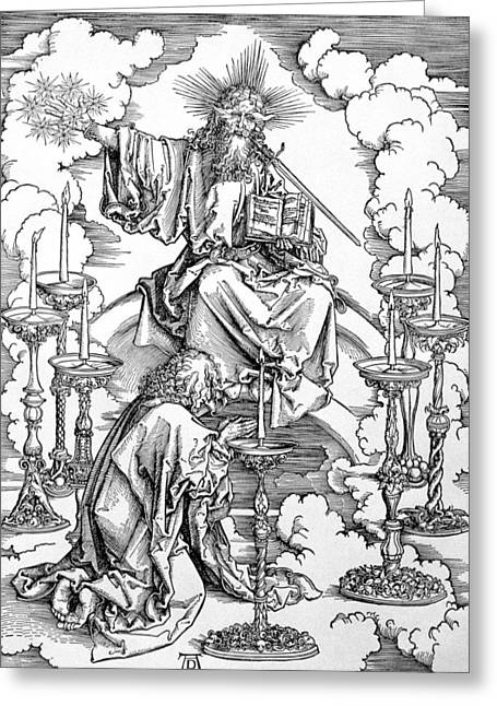 Doomed Greeting Cards - The Vision Of The Seven Candlesticks From The Apocalypse Or The Revelations Of St. John The Divine Greeting Card by Albrecht Dürer or Duerer
