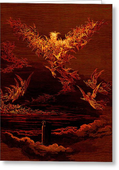 Recently Sold -  - Seraphim Angel Greeting Cards - The Vision of the Sixth Heaven Greeting Card by Gustave Dore