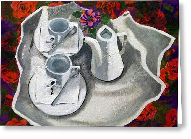 Tea For Two Greeting Cards - Coffee in Bed Greeting Card by Elizabeth  Bogard