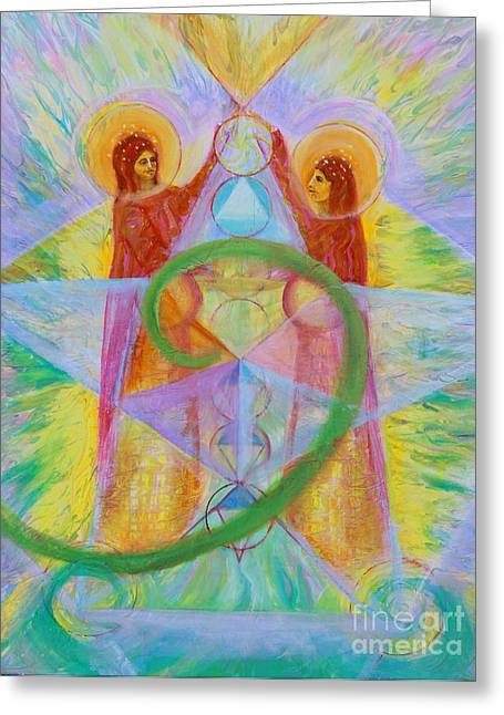 Dodecahedron Greeting Cards - The Visitation Greeting Card by Anne Cameron Cutri