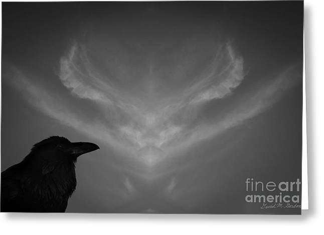 Corvus Corax Greeting Cards - The Visitation Greeting Card by David Gordon