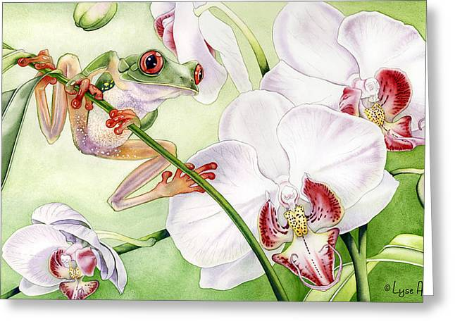 Frogs Greeting Cards - The Visitor Greeting Card by Lyse Anthony
