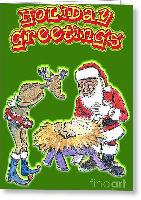 Rudolph Drawings Greeting Cards - The Visitors Greeting Card by Charles M Williams
