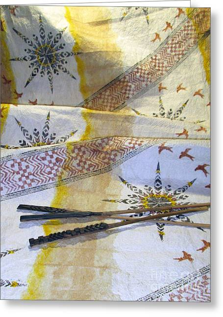 Contemporary Abstract Tapestries - Textiles Greeting Cards - The Voice Greeting Card by Dalani Tanahy