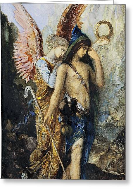 The Voice Greeting Cards - The Voices. Hesiod and the Muse Greeting Card by Gustave Moreau