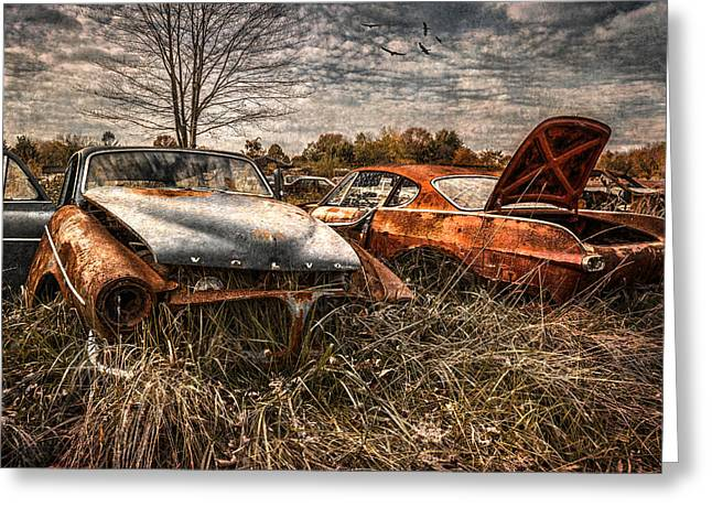Wrecked Cars Greeting Cards - The Volvo Graveyard Greeting Card by Dale Kincaid