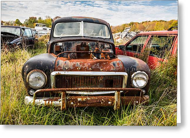 Urbam Greeting Cards - The Volvo Junkyard Greeting Card by Dale Kincaid