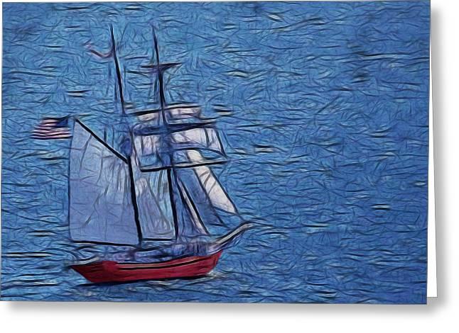 Sailboat Art Greeting Cards - The Voyage Digital Art Greeting Card by Ernie Echols