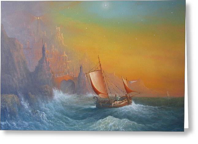 Lord Of The Rings Greeting Cards - The Silmarilion Voyage Of Earendil Greeting Card by Joe Gilronan