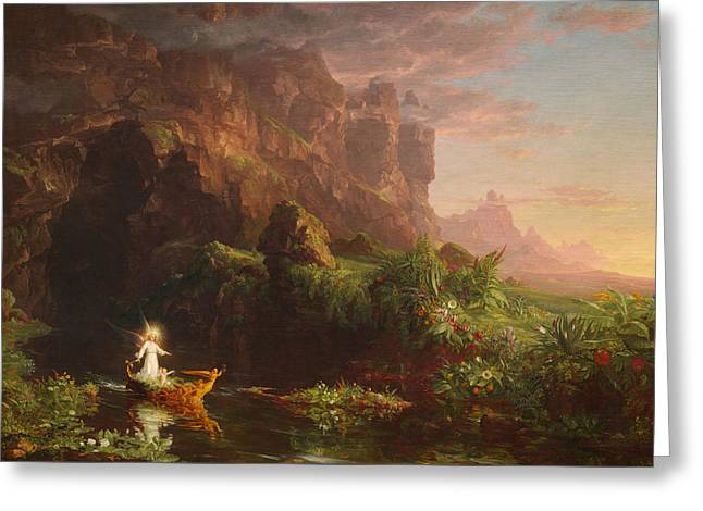 The Voyage Of Life Childhood Greeting Card by Thomas Cole