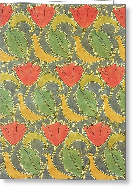 Yellow Line Drawings Greeting Cards - The Voysey Birds Greeting Card by Voysey