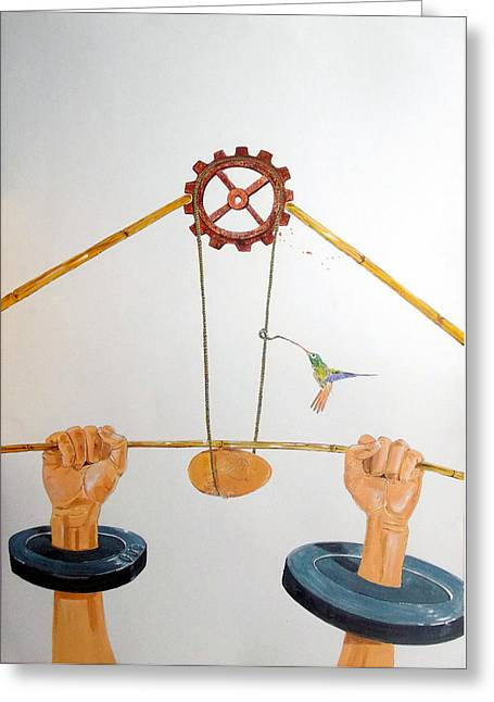 Technical Paintings Greeting Cards - The vulnerable part of mechanisms Greeting Card by Lazaro Hurtado