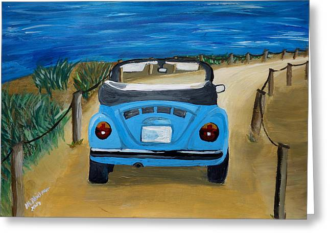 Vw Beetle Paintings Greeting Cards - The VW Bug Series - The Blue Volkswagen Bug at the Beach Greeting Card by M Bleichner