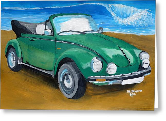 Vw Beetle Paintings Greeting Cards - The VW Bug Series - The Green Volkswagen Bug at the Beach  Greeting Card by M Bleichner