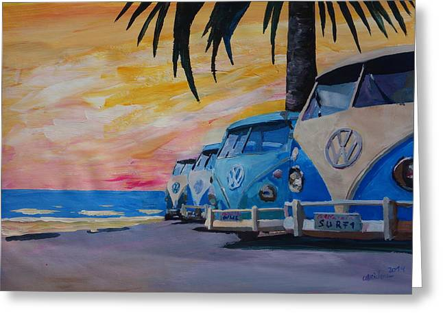 Bully Greeting Cards - The VW Volkswagen Bulli Series - The Blue Surf Bus Line Greeting Card by M Bleichner