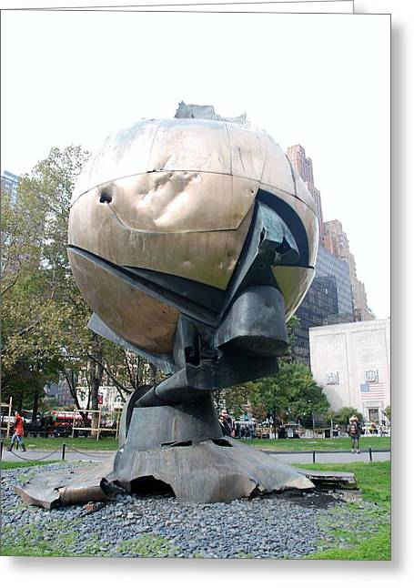 Wtc 11 Greeting Cards - The W T C Fountain Sphere Greeting Card by Rob Hans