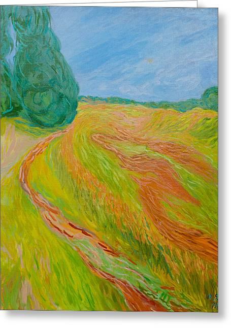 Van Gogh Style Paintings Greeting Cards - Boundary Greeting Card by Alon Shepherd