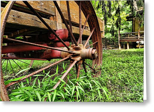 Spokes Greeting Cards - The Wagon Wheel Greeting Card by Paul Ward
