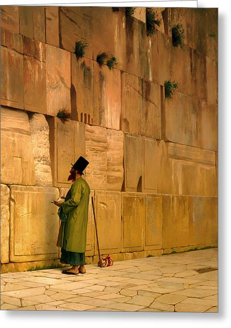 Man Praying Greeting Cards - The Wailing Wall Greeting Card by JL Gerome