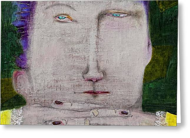 Pensive Mixed Media Greeting Cards - The Wait Greeting Card by Beth Myers