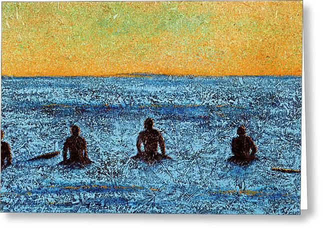 Santa Cruz Surfing Mixed Media Greeting Cards - The Wait Greeting Card by Greg Stanley
