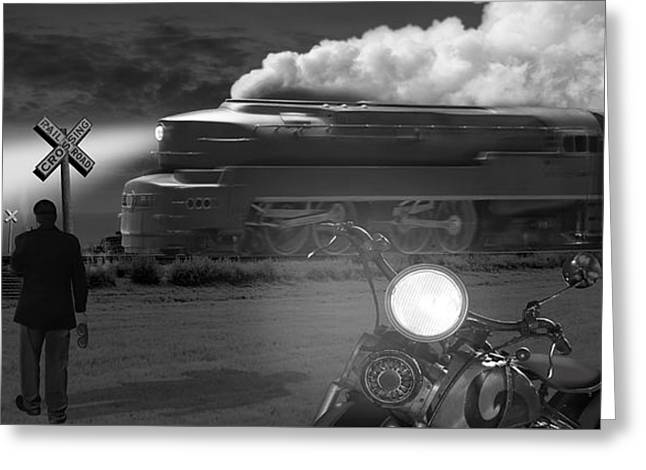 Train Tracks Greeting Card featuring the photograph The Wait - Panoramic by Mike McGlothlen