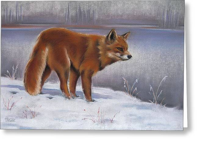Snowscape Pastels Greeting Cards - The Waiting Game Greeting Card by Cynthia House