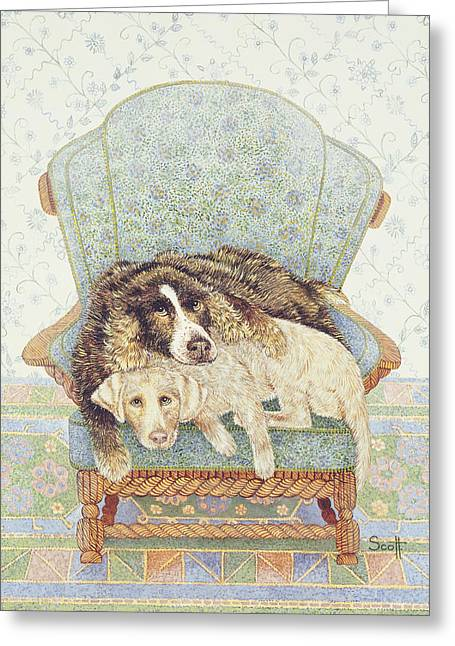 Armchair Greeting Cards - The Waiting Game Greeting Card by Pat Scott