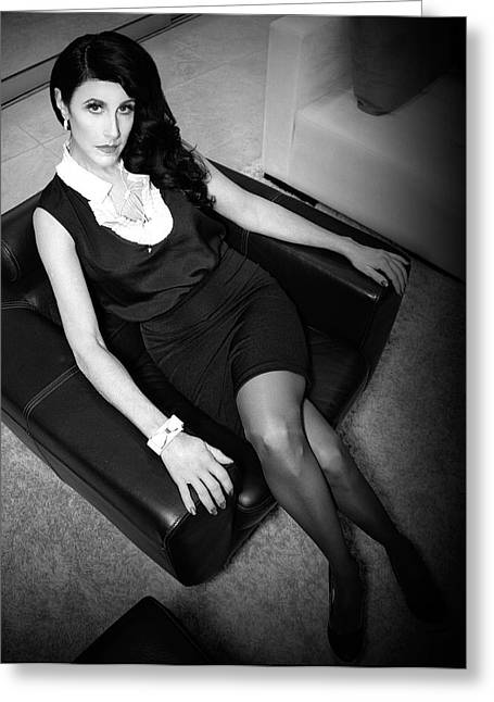 Film Noir Greeting Cards - THE WAITING GAME Film Noir Greeting Card by William Dey