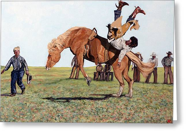 Bull Rider Greeting Cards - The Waiting Line Greeting Card by Tom Roderick