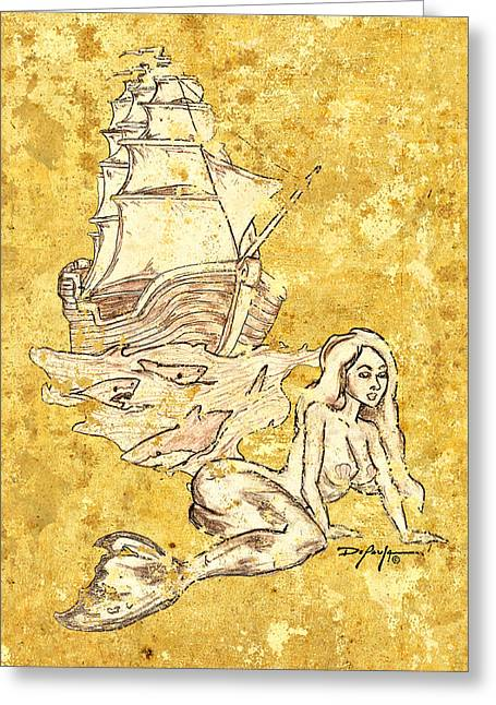 Pirate Ships Drawings Greeting Cards - The Waiting Mermaid Greeting Card by William Depaula