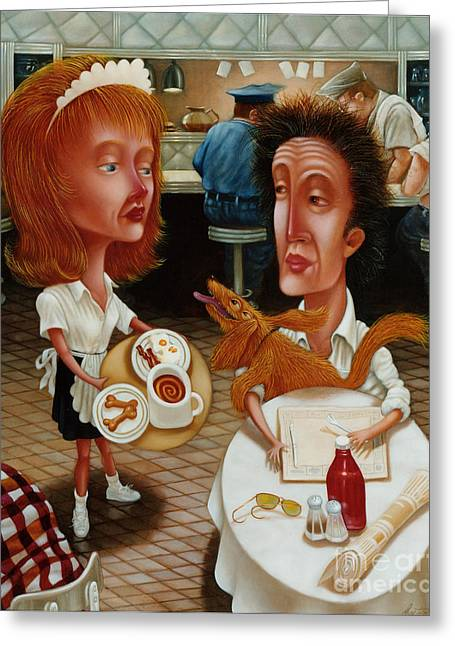 Waitresses Greeting Cards - The Waitress 1999 Greeting Card by Larry Preston