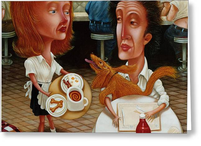 THE WAITRESS 1999 Greeting Card by Larry Preston