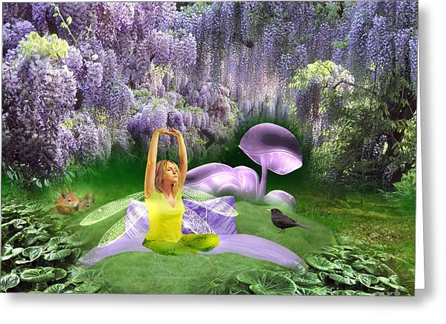Purple Mushrooms Greeting Cards - The wake up - fantasy art by Giada Rossi Greeting Card by Giada Rossi