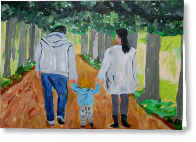 Family Walks Paintings Greeting Cards - The walk in the palace garden Greeting Card by Klaus Engels