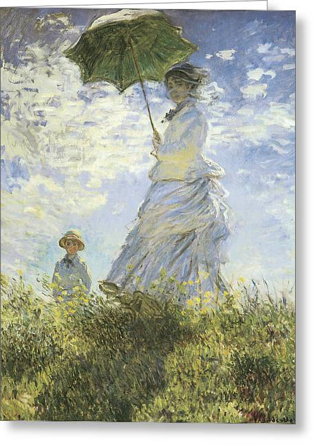 On A Walk Greeting Cards - The Walk Lady with a Parasol Greeting Card by Claude Monet