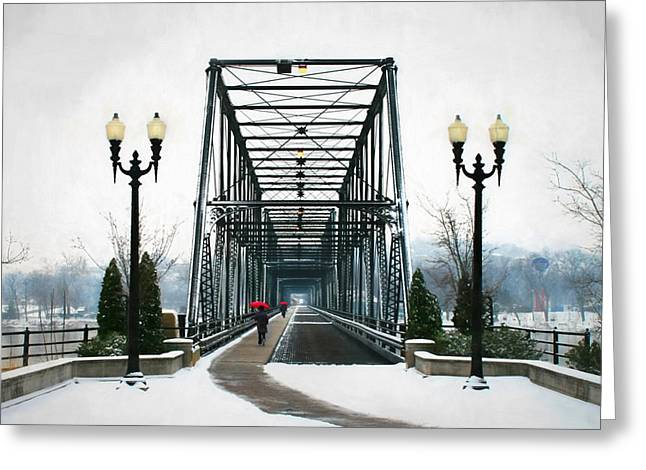 """riverfront Park"" Greeting Cards - The Walking Bridge Greeting Card by Lori Deiter"