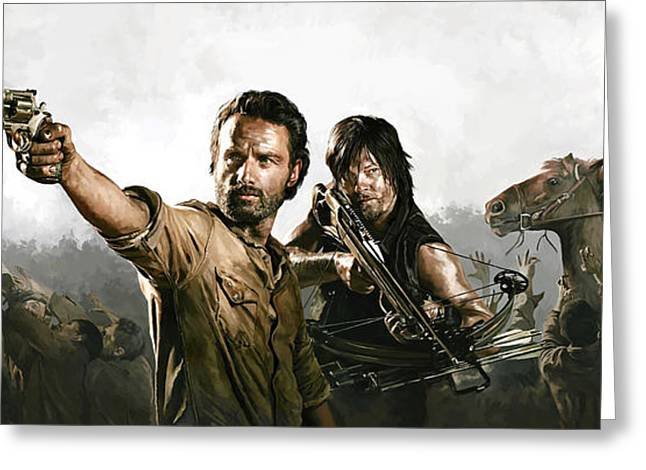 Walking Greeting Cards - The Walking Dead Artwork 1 Greeting Card by Sheraz A