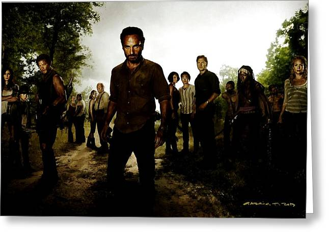 Pen Digital Greeting Cards - The Walking Dead Greeting Card by Gabriel T Toro