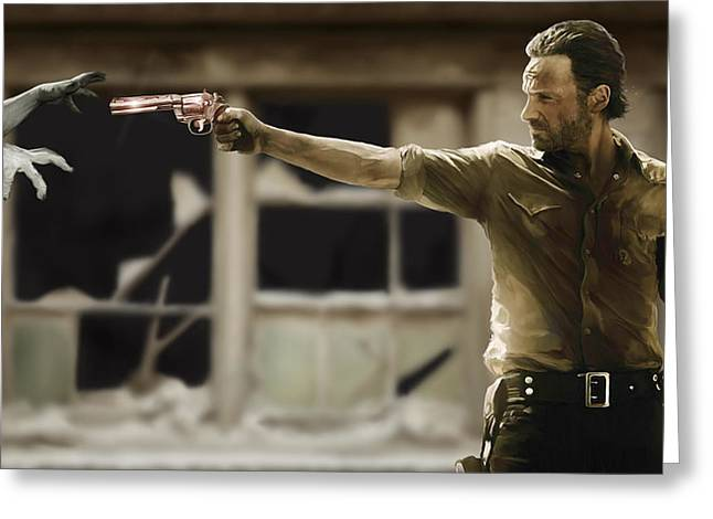 Celebrity Prints Greeting Cards - The Walking Dead Greeting Card by Paul Tagliamonte